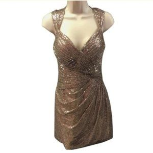 Black By Alexia Designs Gold Sequin Dress Size 10